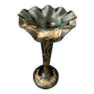 Moser green glass tall gold enamel vase ruffled rim