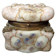 Extra Large Wavecrest C.F. Monroe Egg Crate Mold lace enamel hinged jewel box hand enameled pansies and gilt mounts