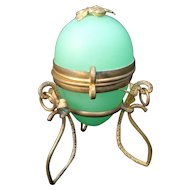 Antique French Green Glass Opaline Egg Box in Gilt Ormolu Stand