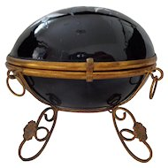 Antique French Palais Royal Black Glass Large Egg Box Painted Flowers on Gilt Ormolu Stand
