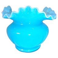 Vintage Fenton Turquoise Blue Ruffled Opalescent Rim Vase