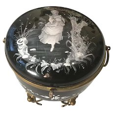 Monumental Opaline Glass Mary Gregory Enamel Painted Hinged Casket