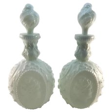 Fostoria Milk Glass Pair Jenny Lind  Decanters