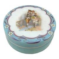 Victorian Glass Portrait Powder Jar