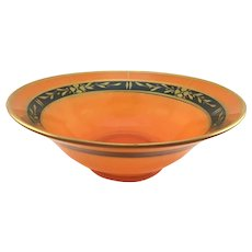 Art Deco Center Bowl Orange and Black with Gold Flowers