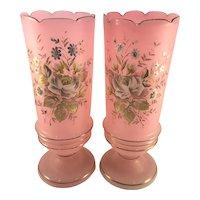 Victorian Pair Pink Opalescent Vases Floral Enamel Painted