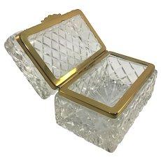 Cut Crystal Glass Diamond Pattern Casket