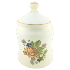Mid Century Large Frosted Glass Dresser Jar Rose Floral