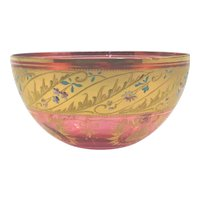 Bohemian Cranberry Glass Enamel Painted Bowl
