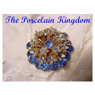 Sapphire Blue Rhinestone Forget-Me-Not Brooch Pin