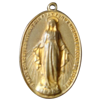Antique Virgin Mary Catholic Religious Medallion Medal