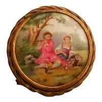Limoges France Porcelain Brooch Courting Couple