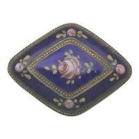 Cobalt Pink Rose Enamel Brooch Signed Czechoslovakia