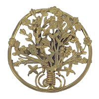 Art Nouveau Gilt Basket of Flowers Brooch Sash Pin c.1890