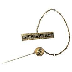 Egyptian Revival Rolled Gold & Black Enamel Cape Pin