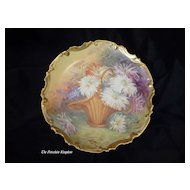 Limoges antique porcelain wall plaque Roccoco charger hand painted basket of dahlia flowers French artist signed Duval
