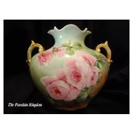 Largest antique porcelain hand painted pink roses gold handled pillow vase