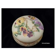 Victorian hand painted pansies & gold lattice porcelain dresser powder puff box