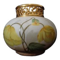Antique Limoges French Porcelain Gold Pierced Collar Vase Poppies