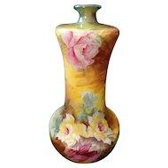 Crown Devon Simon Fielding & Co. Majolica Gloire de Dijon Roses Bottle Vase C. 1913