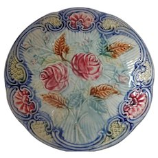 Majolica Leaves & Roses Plate