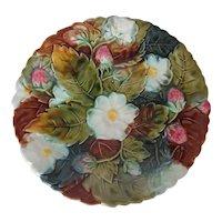 Majolica Strawberries, Flowers & Leaves Plate