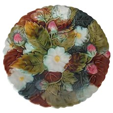 Majolica Strawberries, Flowers & Leaves Plate