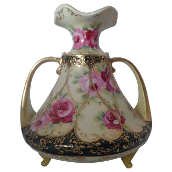Nippon Hand Painted Roses and Heavy Gold Double Handled Tripod Three Footed Vase