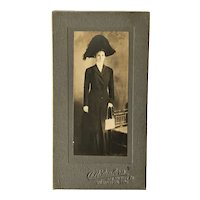 Victorian Photograph Lady in Bicorne Hat with Mesh Purse
