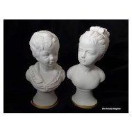 Vintage German pair parian busts boy and girl