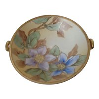 Nippon Double Handled Pedestal Bowl Blue and Lavender Flowers