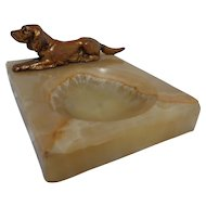Gilt Bronze Setter Retriever Dog on Onyx Tray