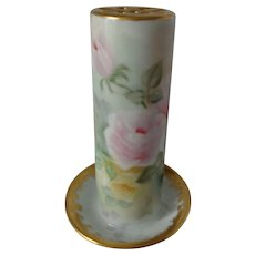 Antique Victorian Hatpin Holder Hand Painted Pink Roses and Gold