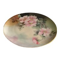 Haviland Limoges Pink Roses Plate Artist Signed  and Dated 1905