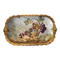 """Limoges J. Golse Grapes Hand Painted 16 1/2"""" Tray"""