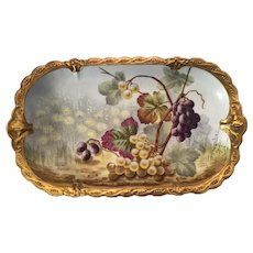 "Limoges J. Golse Grapes Hand Painted 16 1/2"" Tray"