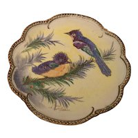 Tapestry Porcelain Blue Jay and Chick Plate Plaque Artist Signed