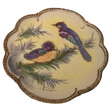 Tapestry Porcelain Plaque Blue Jay and Chick Plate Artist Signed c.1890
