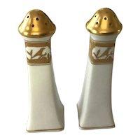 Gold Embossed Porcelain Salt and Pepper Shakers