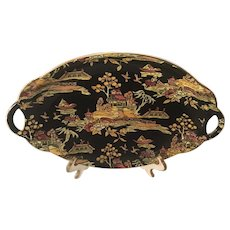 Royal Winton Grimwades Pekin Black Chintz Tray with Handles