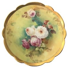 Limoges Plate with Roses Artist Signed Duval
