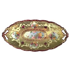 Nippon Moriage Beaded Tray with Floral Medallions and Heavy Gold