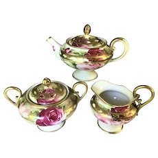 Nippon Tea Set Pink and Red Roses with Heavy Gold