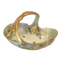 Limoges Gold Forked Handle Basket Yellow Roses