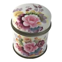 Porcelain Enamel Tea Cannister Pink Yellow & Deep Red Roses