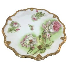 Coronet Limoges Antique Plate Pink and White Roses