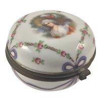Antique Portrait Porcelain Hinged Box