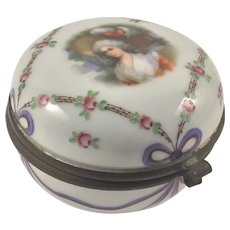 Antique Portrait Porcelain Hinged Box