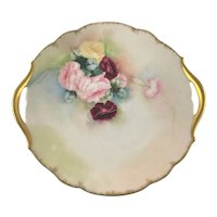 Limoges Double Gold Handle Plate Hand Painted Roses