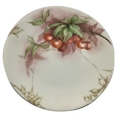 Limoges Cherries Plate with Gold Spider Webs